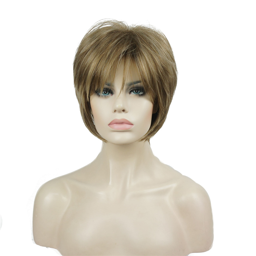 StrongBeauty Synthetic Wig Women's Brown/Blonde Hair Natural Wig Short Straight Wigs