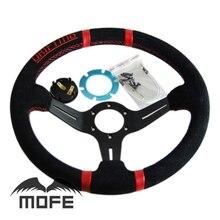 MOFE Гонки Пакет Красный Стежка Черный Говорил Deep Dish 350 мм Замши рулевого колеса крышка