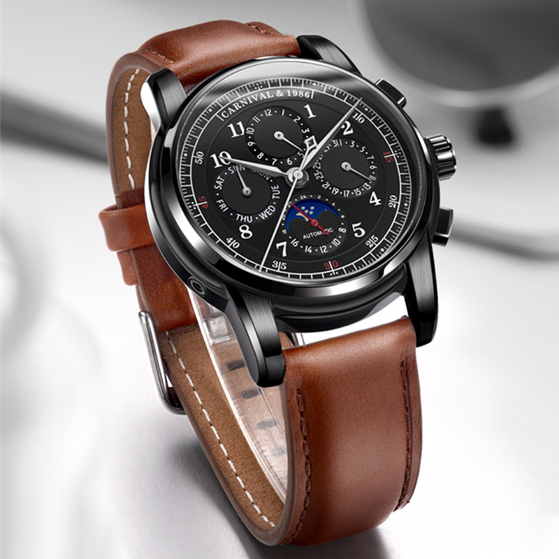Moon phase Multi function relogio masculino Carnival Automatic Watches Men Luxury Brand Mechanical Clock Fashion 2017