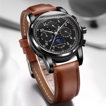 Moon phase Multi-function Dial relogio masculino Swiss Carnival Automatic Watches Men Luxury Brand Mechanical Clock Fashion 2017 carnival mechanical men watch phase moon leather strap double calendar stainless steel multi function clock relogio masculino