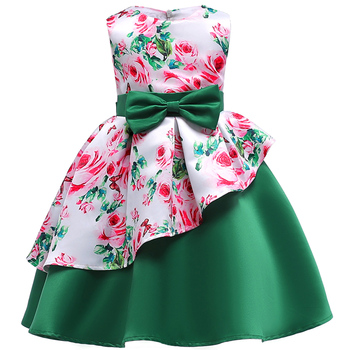 Baby Kids Flower Pretty Birthday Dresses Children Clothing Toddler Wedding Princess Dress Eveving Party Costume Clothes With Bow 4