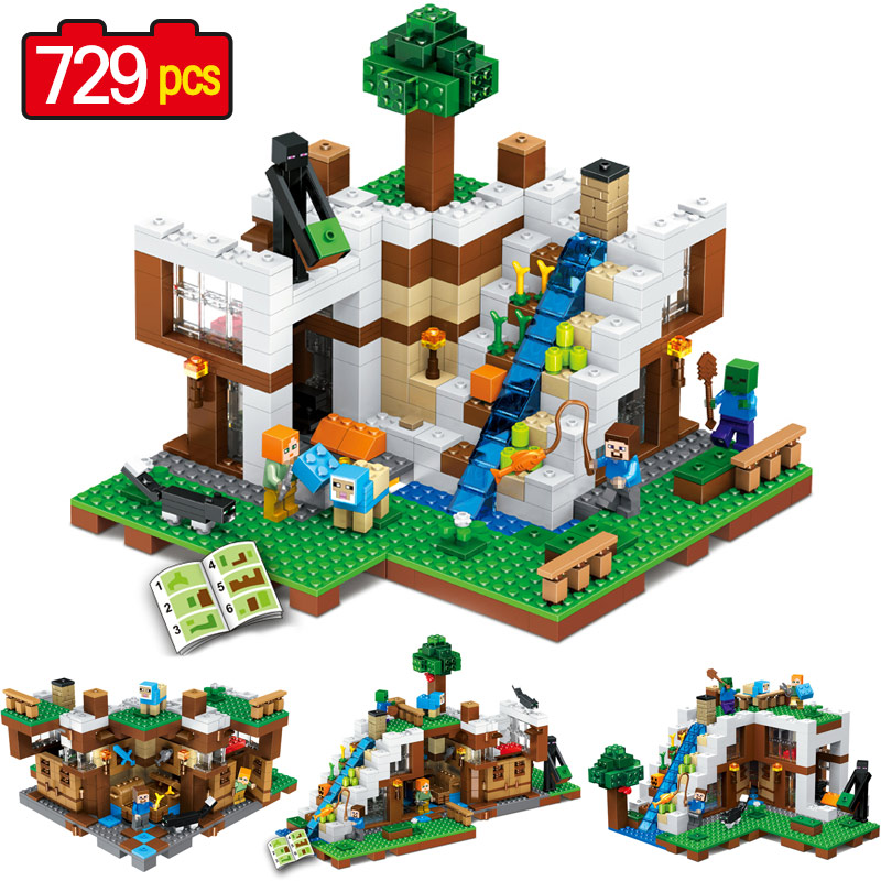 729PCS New My World Building Blocks SetsWaterfall slide base Compatible LegoINGLYS Minecrafter Technic blocks Toys for Children lele my world power morse train building blocks kits classic educational children toys compatible legoinglys minecrafter 541 pcs