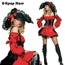 Hot Sale Adult Female Cruel Seas Captain Buccaneer Pirate Cosplay Costume Women's Sexy Halloween Fancy Dress Clothing & Hat Z10