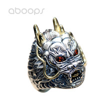 Vintage Cool Two Tone 925 Sterling Silver Chinese Mythical The Dragon King Head Ring Jewelry for Men Adjustable vintage two tone 925 sterling silver thick gold skull head ring jewelry for men size 8 5 9 10 10 5 free shipping