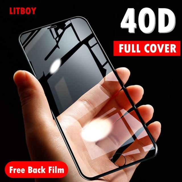40D Cong Mềm Mại Edge Ốp Bảo Vệ Cho iPhone 7 6 6S 8 Plus X Cường Lực Bảo Vệ Màn Hình Trong Cho iPhone X XR XS Max 7 6 Bộ Phim