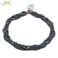 JYX classic jewelry colorful black natural pearl necklaces choker pearl 4 5m freshwater pearl necklace 18 amazing