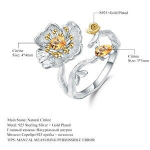 Image 5 - GEMS BALLETT 0,65 Ct Natürliche Citrin Edelstein Ring 925 Sterling Silber Handmade Blühende Mohnblumen Blume Ringe für Frauen Bijoux