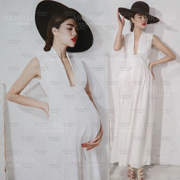 Noble Smooth White Long Cute Elegant Dress Maternity Photography Props Pregnant Women Romantic Photo Shoot Fancy costume Size L motorcycle handlebars clip on for kawasaki zx6r 600cc zx9r 900cc 1998 2002 page 2