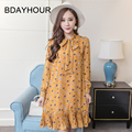 Spring/Summer 2017 New Butterfly Neckline Design Korean Chiffon Floral Long - Sleeved A - Type Pregnant Pleated Dress