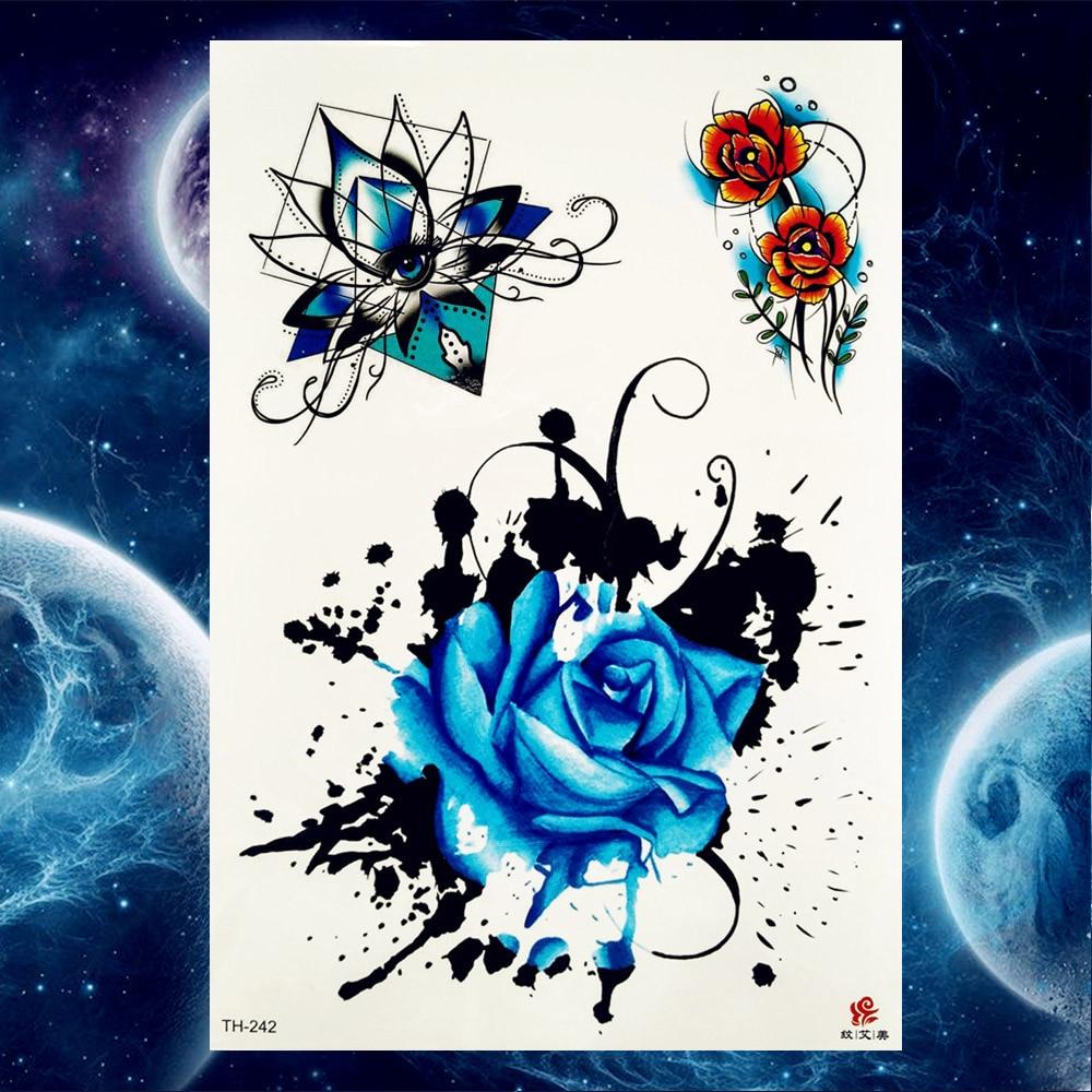 YURAN Temporary Tattoo Stickers Women Body Art Painting Flash Flower Tatoos Girls Black Wolf Arm Waterproof Neck Tattoo Supplies 1