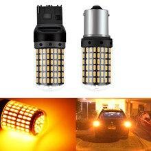1 adet LED ampuller 3014 144smd dönüş sinyal ışığı hiçbir flaş CanBus hata yok 1156 BA15S P21W BAU15S PY21W led lamba t20 7440 W21W renkler