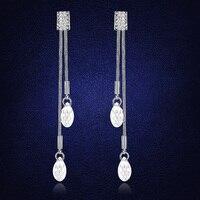 Vintage Crystals From Swarovski Long Tassel Earrings For Women Silver Color Drop Dangle Earings Wedding Jewlery
