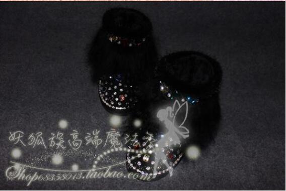 Волшебное шоу оригинальные Роскошные норковые меховые стеклянные акварельные сверла кожаные ботинки пляжная шерсть зимние ботинки - 3