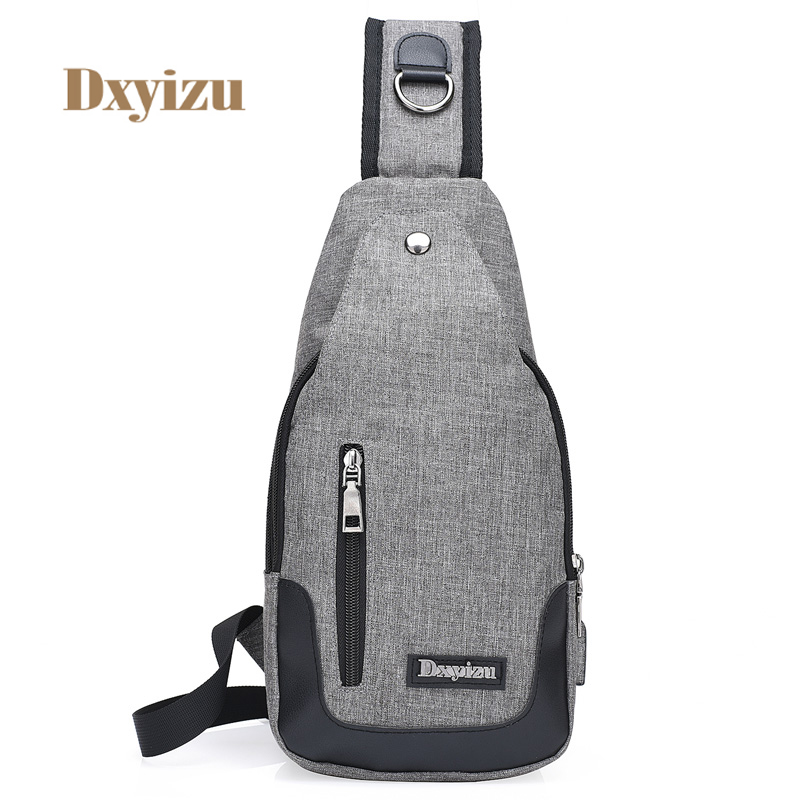 Casual Solid Men Chest Bag Fashion Cross body Bag Women High Quality Travel bags Messenger bag with Charging hole Couple package