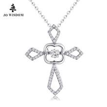 JO WISDOM 100% 925 Silver Birthstone April Diamond Natural Topaz Cross Pendant Necklace for Girl's Gift Fashion Women Jewelry
