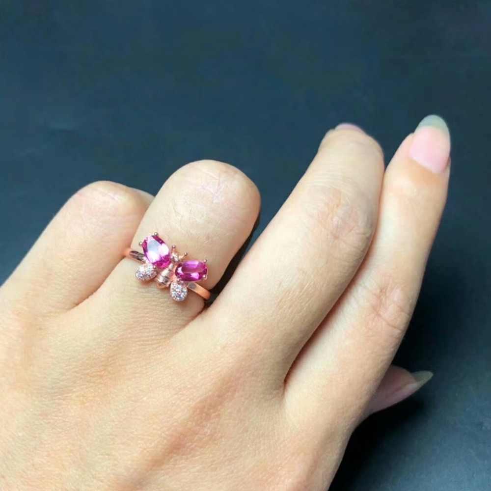 Shilovem 925 เงินสเตอร์ลิงแหวนธรรมชาติ topaz สีชมพูผู้หญิงเปิดคลาสสิกใหม่เครื่องประดับ gitf 6*6 มิลลิเมตร bj040601agfb