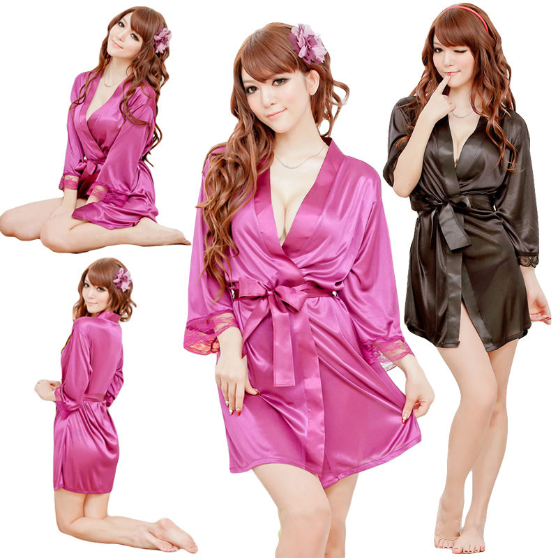 Caual Women Solid Plain Silk Satin Lace Up Robes Bridal Wedding Bridesmaid Bride Gown Bath Comfortable Robe