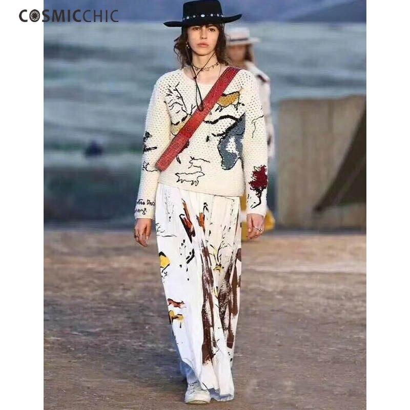 Cosmicchic Haute Couture вязать шерстяной свитер пуловеры ручной работы Тотем Вышивка Свитер с длинными рукавами выдалбливают взлетно посадочной пол