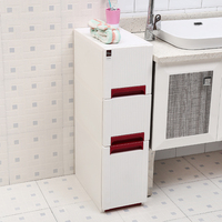 New Arrival 24cm Width Storage Cabinet Drawer Plastic Lockers Toilet Racks Kitchen Cabinets Organizer Sundries with Pulley