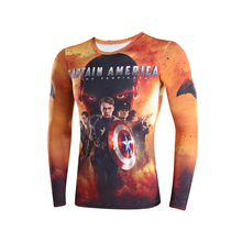3D t-shirts digital printing compressed t-shirts men long sleeve Deadpool Superman iron Man captain America 3 model