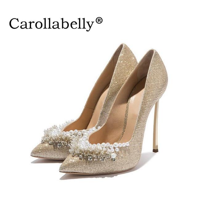 2018 г. женские пикантные туфли-лодочки для женщин золото Бисер свадебные туфли обувь с острым носком на высоком каблуке Для женщин насосы 10 см/12 см высокие каблуки