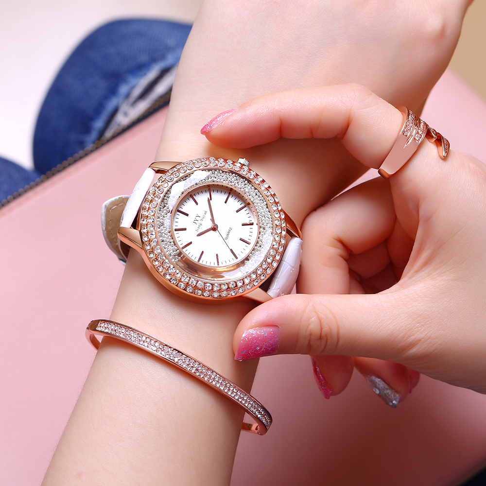 Læder runde kvinder kjole ur mode diamant rhinestone afslappet ure - Mænds ure - Foto 5