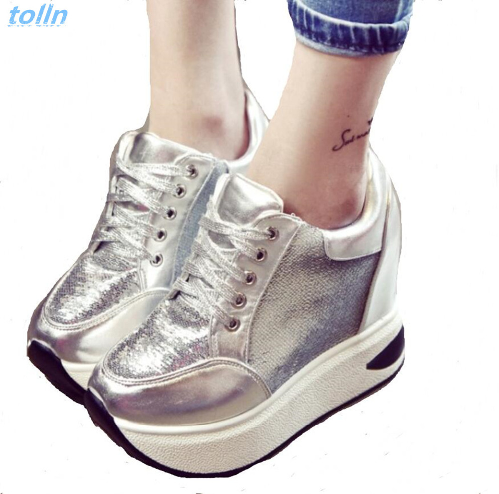 Increased internal 10cm women high heels new fashion 2017women casual shoes wedges thick bottom shoes woman zpatos mujer lace-up цены онлайн