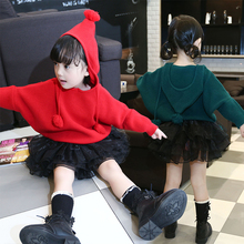 2017 Hitz girls fashion personality casual long-sleeved hooded sweater girls children's clothing sizes too small one yards