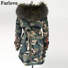Мех Love новинка зимние пальто женские куртки настоящий большой енотовый меховой воротник Толстые женские парки армейский зеленый женская верхняя одежда