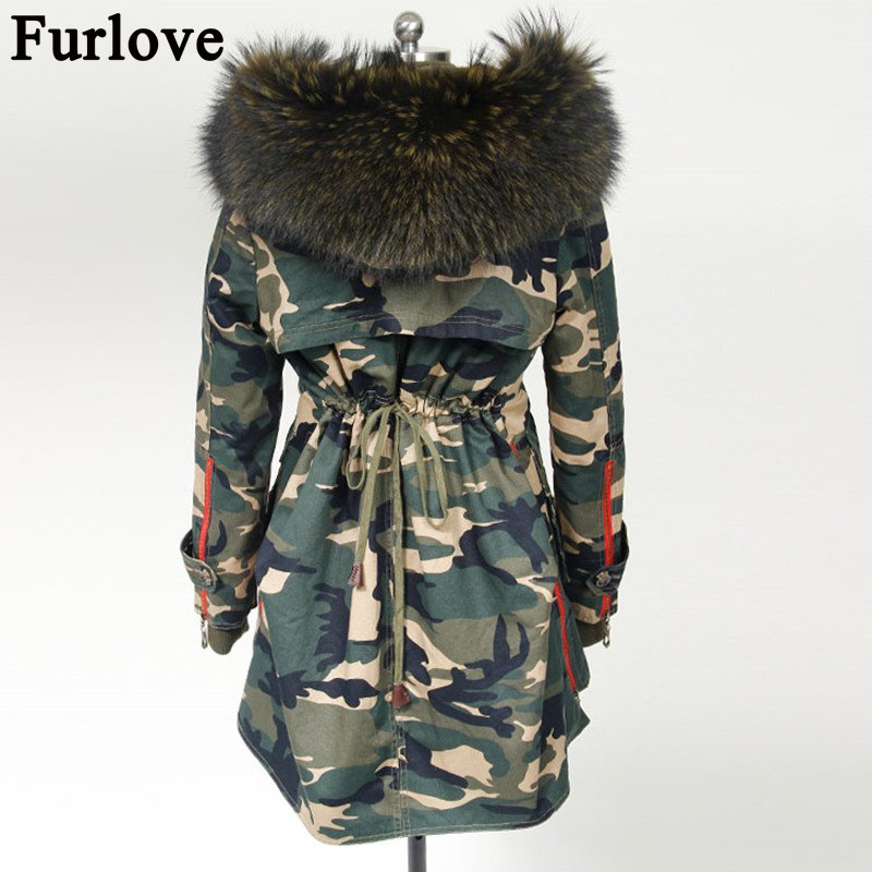 Furlove New 2016 Winter Coats Women Jackets Real Large Raccoon Fur Collar Thick Ladies Parkas Army Green Female Outerwear