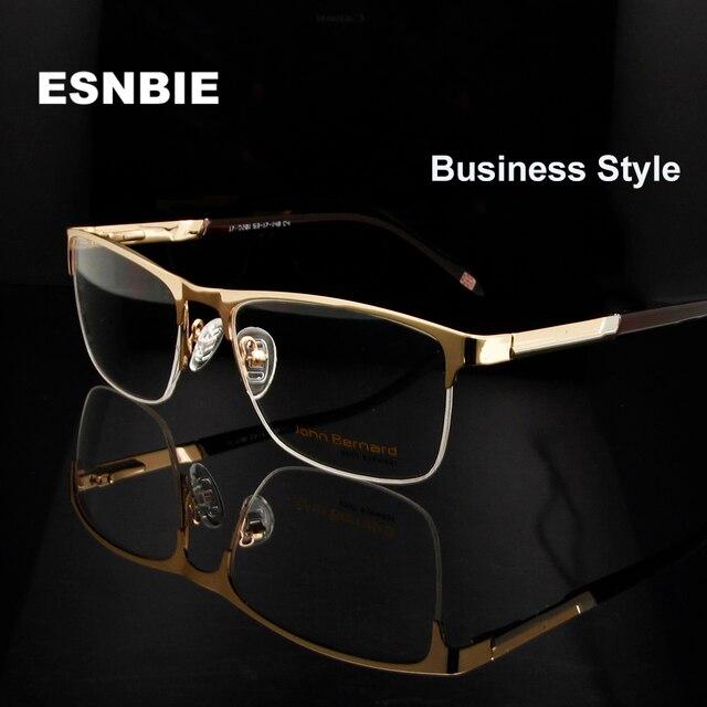 c7d56d44f7 ESNBIE New Business Glasses Men Optical metalic Myopia Glasses Men s Half  Rim Glasses Frame Semi-Rimless Eyewear
