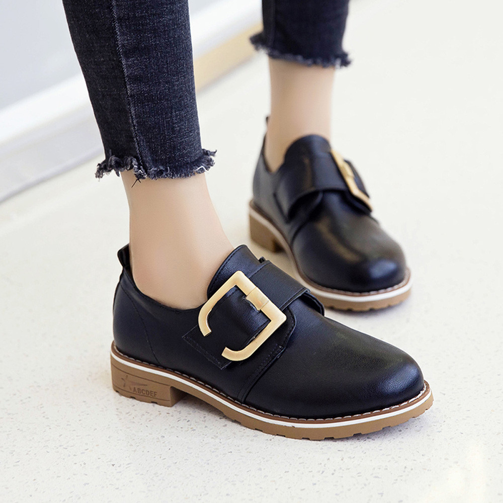 MUQGEW 2019 New Arrival Women Round Toe Shoes Leather Booties Buckle Strap Square Heel Single Shoes