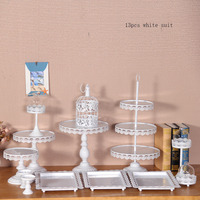 Gold Cake Stand Set13 Pieces Cupake Display Tray For Wedding Cake Tools Candy Plate Party