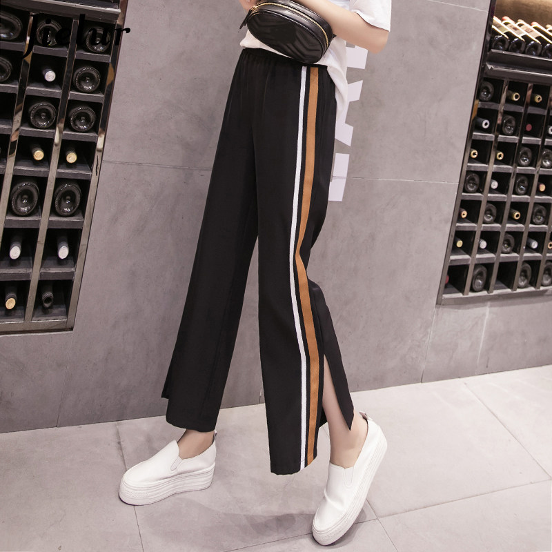 Jielur Summer New Loose   Pants   Korean Style Split Striped   Wide     Leg     Pants   Thin Comfortable Harajuku Black Green Red Pantalon Mujer