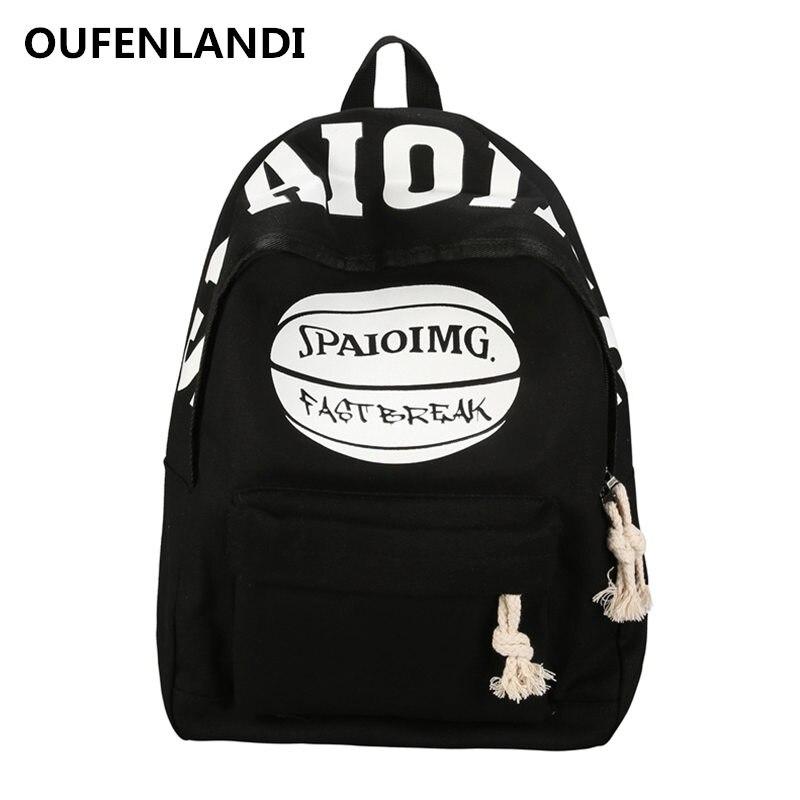 OUFENLANDI Womens Backpack Preppy Style Travel Canvas Bag Couples Bag Girls Bag Letter Pattern Casual Zipper School BackBag