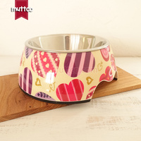 48pcs Lot M Size Pet Food Detachable Dual Antiskid Melamine Heart Love Dog Bowl DB 018
