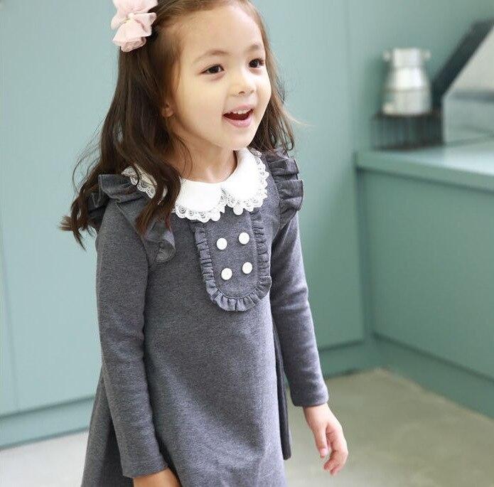 84e112efea Wiosna 2019 dziewczyny koronka bawełniana sukienka śliczne casual Lapel  flouncing sukienka ubrania dla dzieci