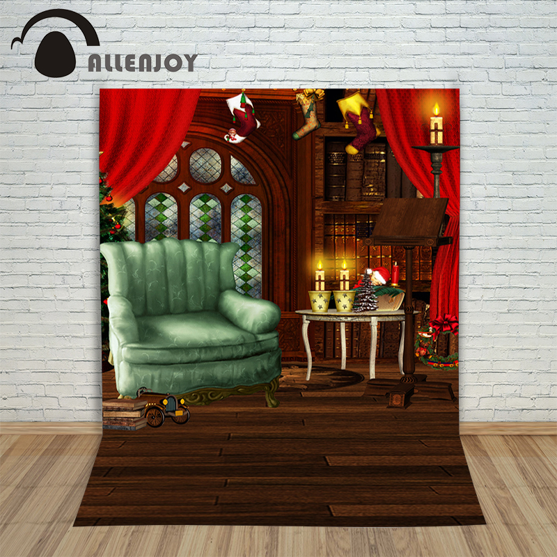 Background vinyl christmas Chair Cle  Red Curtain wood newborn photo studio photocall decoration cute
