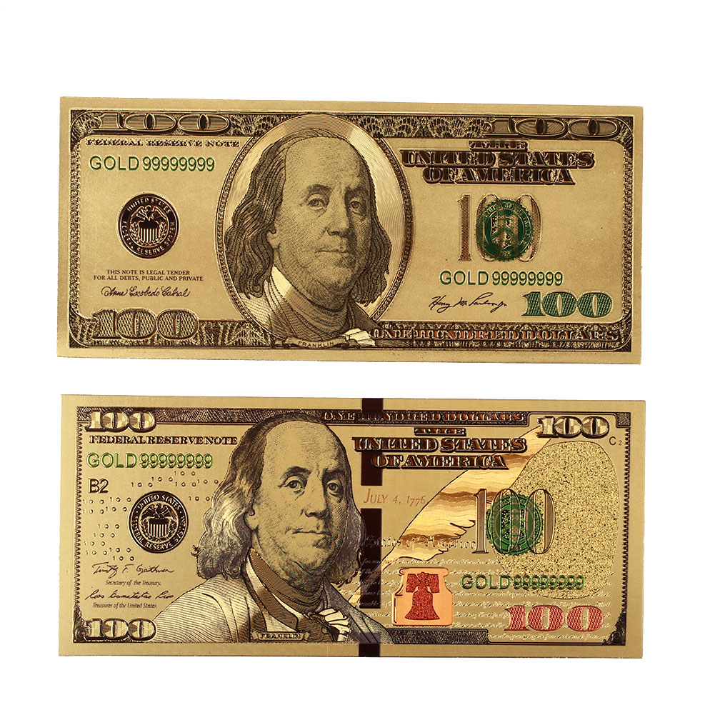 2PCS/Set Gold High Quality Souvenir 24K Gold Plated Dollars Decoration 100 Dollar Bills Realistic Fake Money Dorpshipping