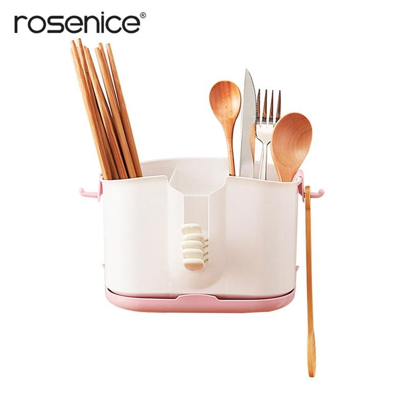 Multifunctional Plastic Rest Dish Rack Utensil Organizer Tableware Knives Holder With Draining Base For Countertop Kitchen