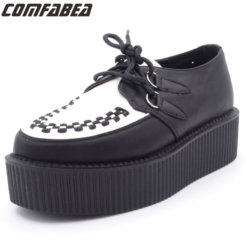 Women Platform Lace Up Shoes Retro Trendy Flat Creepers Goth Punk Rock Street All-match Classical Black white Creeper pearl white canvas shoes shoes white shoes all match flat flat with lace shoes in autumn korean students