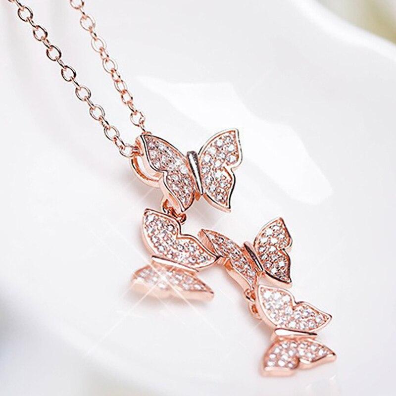 XIYANIKE 925 Sterling Silver New Korean Style Vintage Butterfly Jewelry Sets Long Tassel Earrings Navicle Chain For Women NE+EA