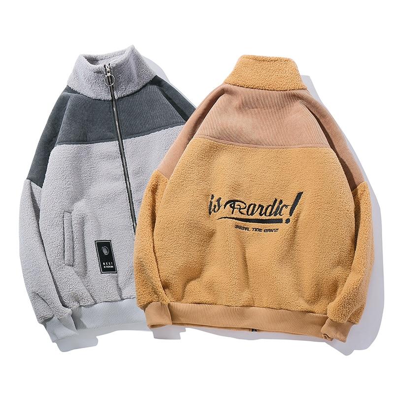 dc6dbcf687 Fleece Jackets Mens Zipper Embroidery Cashmere Jacket Fashion 2019 Kanye  West Winter Turtleneck Warm Mens Coats and Jackets