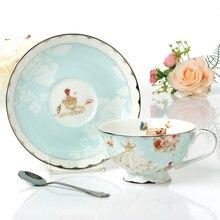 Изысканный европейский стиль фарфоровые чашки чая и блюдца, цветочный узор Керамические чашки кофе, Штраф Костяного Фарфора Чашка чая, прекрасная бытовая Подарок
