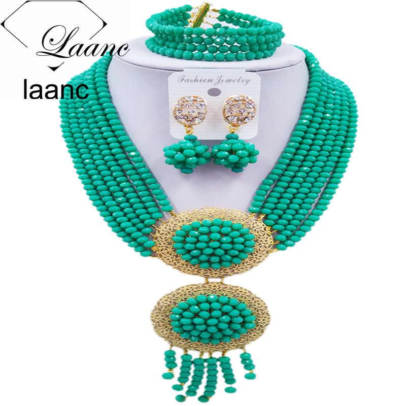 Laanc модный голубой зеленый африканский бисер комплект ювелирных изделий нигерийский Свадебный ожерелье набор свадебных ювелирных изделий 6PHLS009