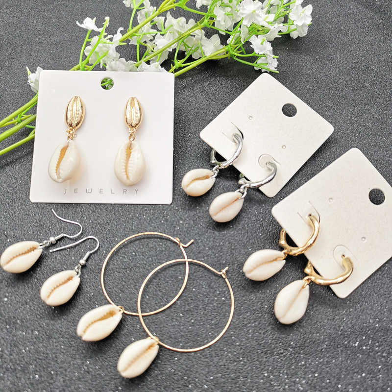 JCYMONG 2019 New Fashion Natural Shell Earrings For Women Bohemian Gold Silver Color Metal Geometric Drop Earrings Beach Jewelry