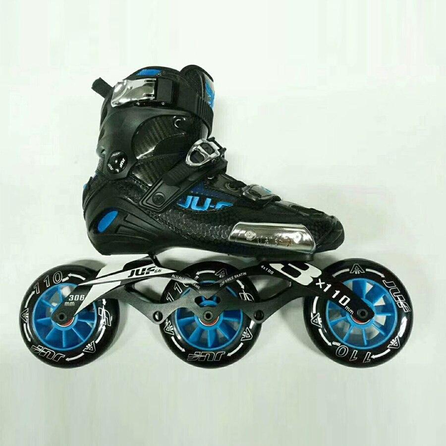 War Wolf 3*110mm patin de vitesse Semi-solft chaussures de patinage à roulettes adultes patins à roues alignées Patines pour la course de rue patinage gratuit