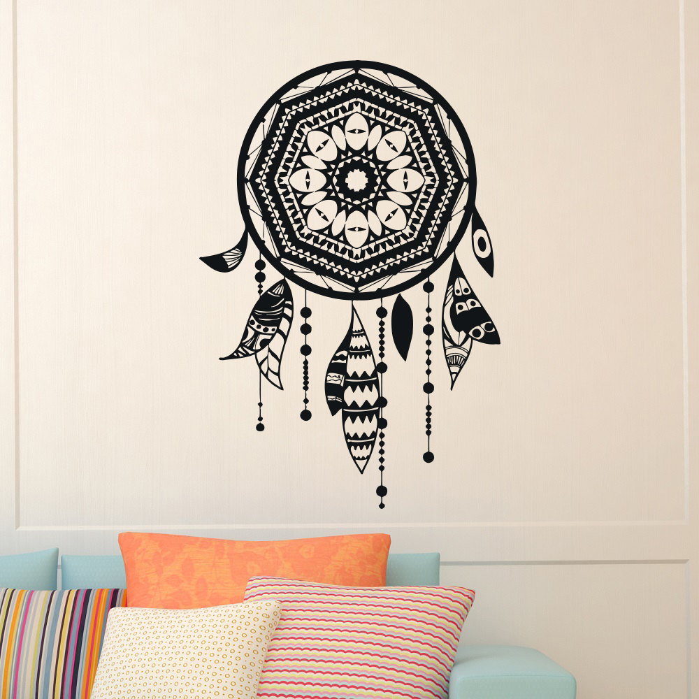 compare prices on dream wall decal online shopping buy low price vintage dream catcher vinyl wall stickers indian feather dreamcatcher wall decal living room decor bedroom decal