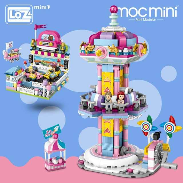 2019 Loz Mini Blokken Speeltuin Springen Machine Bumper Auto Speelgoed Een Carrousel Plastic Blokken Educatief Diy Architectuur Model