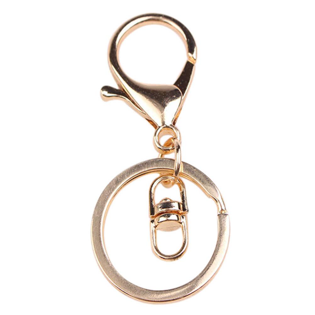 عالية كوليتي أزياء جولة كيرينغ السنانير المعادن انقسام سلسلة مفاتيح حلقات المفاتيح مع مشبك قفل DIY النتائج لحقيبة الملحقات 1 قطعة